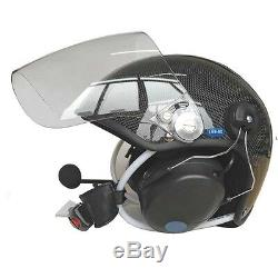 Carbon fiber paramotor helmet with noise canceling headset powered paragliding