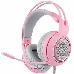 Gaming Headphones Noise Cancelling Led Usb Headset Headphone With Cat Ears Pink