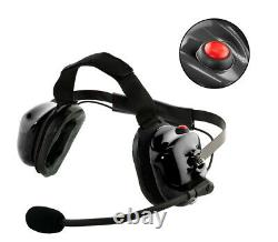 Heavy Duty Noise Cancelling Dual Muff Headset with PTT for 2-Pin Kenwood Baofeng