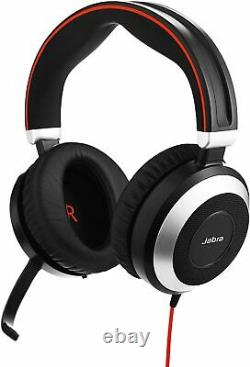 Jabra Evolve 80 Professional Stereo Noise Cancelling Wired Headset UC with USB Hub